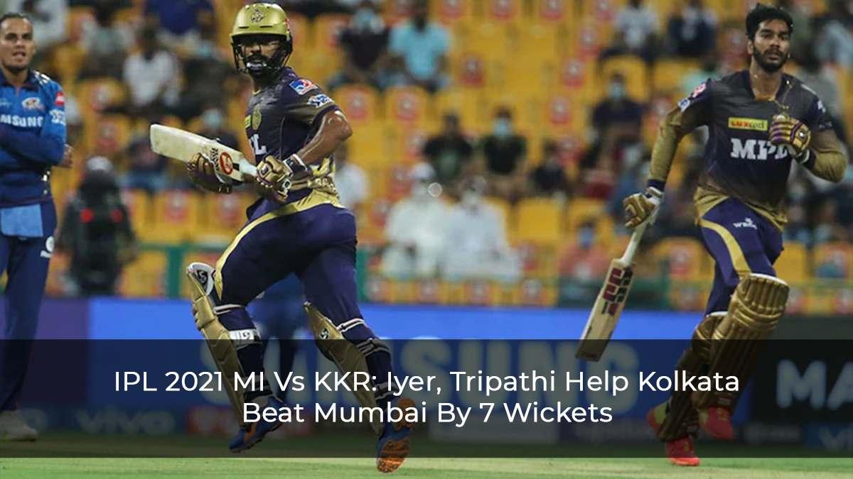 IPL 2021: Rahul Tripathi, Venkatesh Iyer Half-Centuries Help KKR to A 7-Wicket Victory Against MI